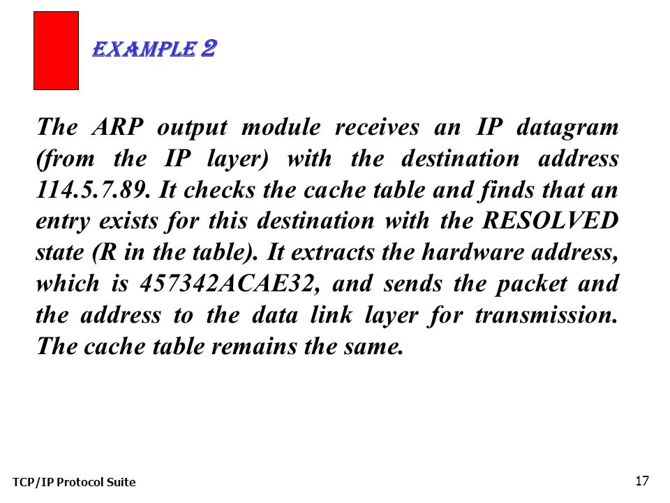 TCP/IP Protocol Suite 17 The ARP output module receives an IP datagram (from the IP layer) with the destination address 114.5.7.89.