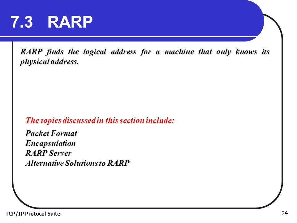 TCP/IP Protocol Suite 24 7.3 RARP RARP finds the logical address for a machine that only knows its physical address.