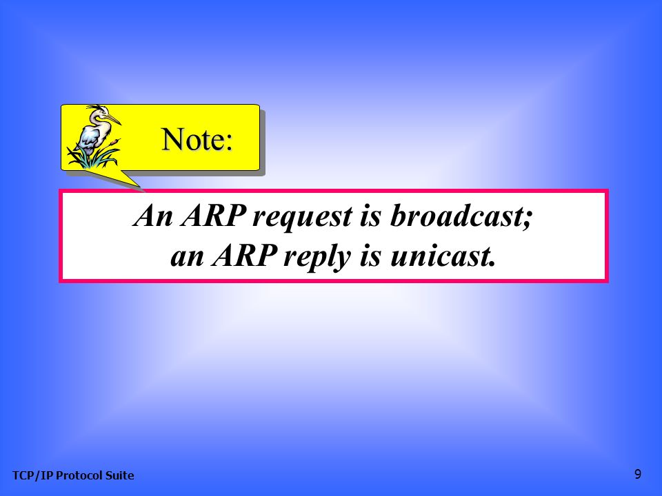 TCP/IP Protocol Suite 9 An ARP request is broadcast; an ARP reply is unicast. Note:
