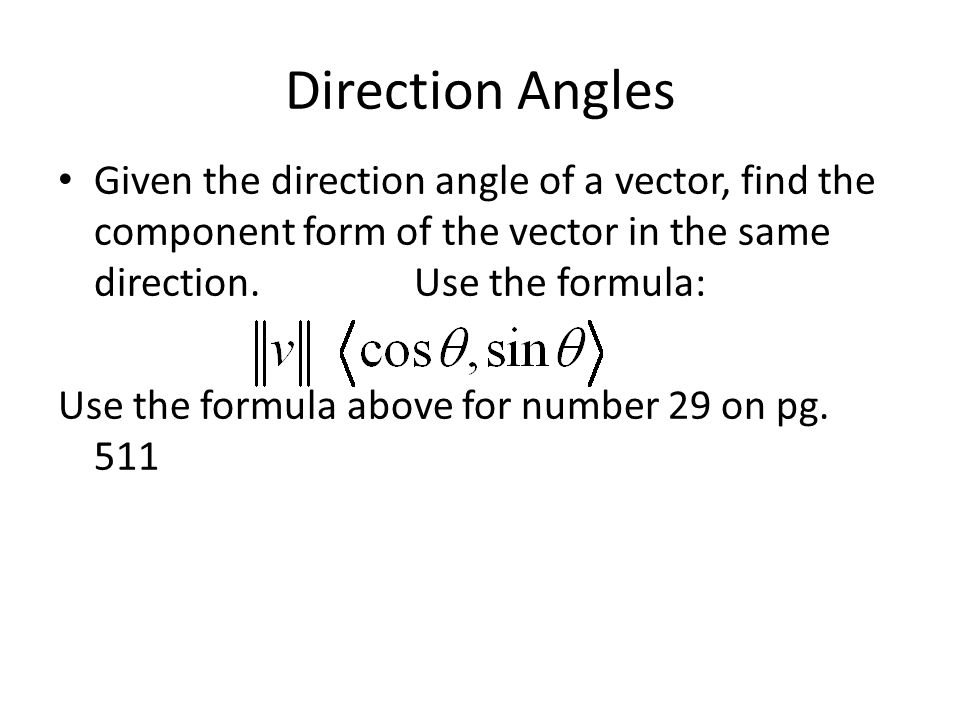 Component form of a vector given magnitude and angle