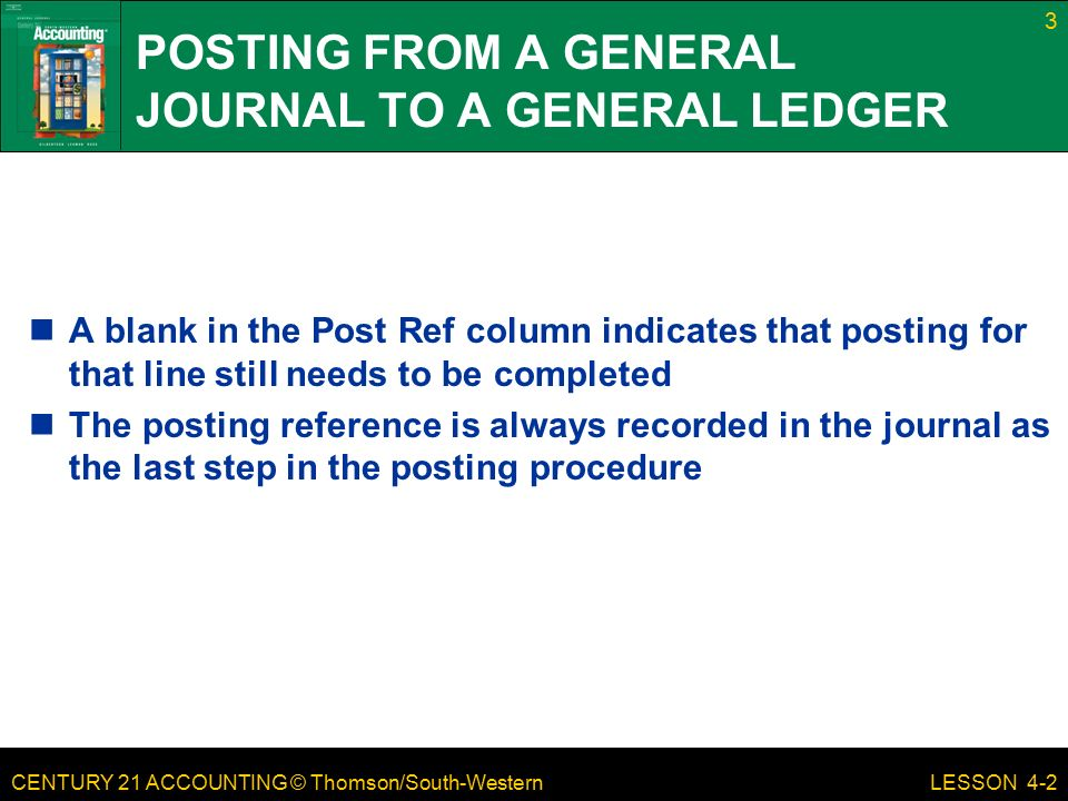CENTURY 21 ACCOUNTING © Thomson/South-Western 3 LESSON 4-2 POSTING FROM A GENERAL JOURNAL TO A GENERAL LEDGER A blank in the Post Ref column indicates that posting for that line still needs to be completed The posting reference is always recorded in the journal as the last step in the posting procedure