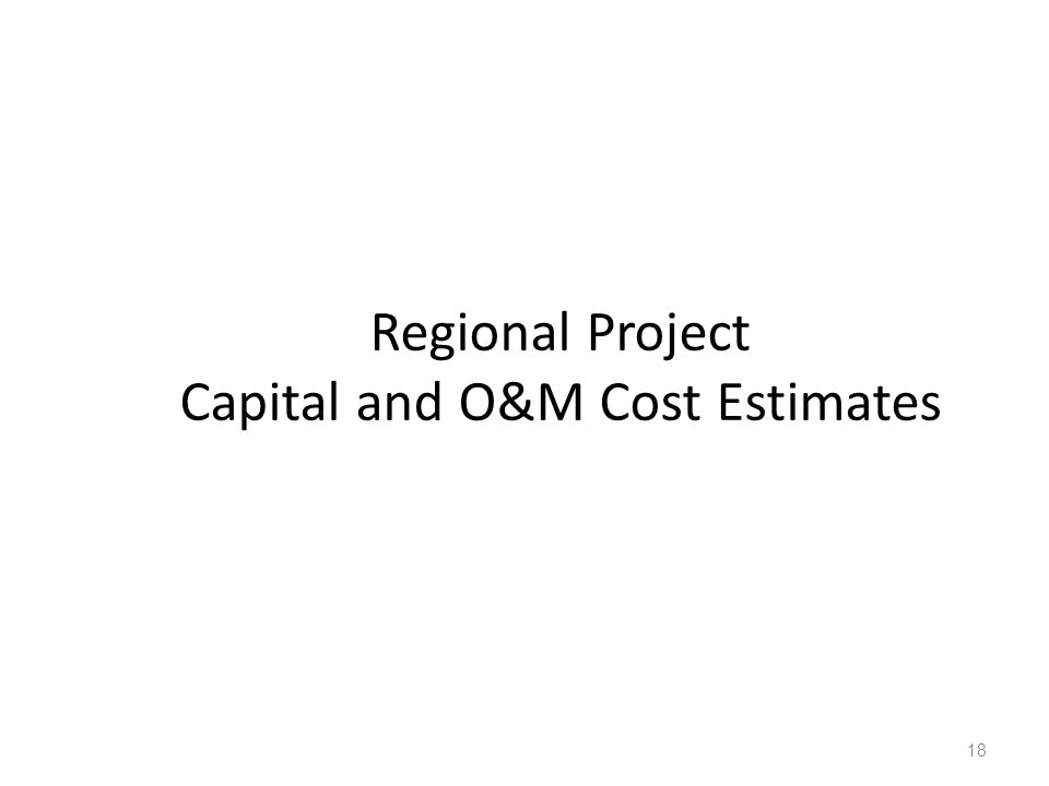 Regional Project Capital and O&M Cost Estimates 18
