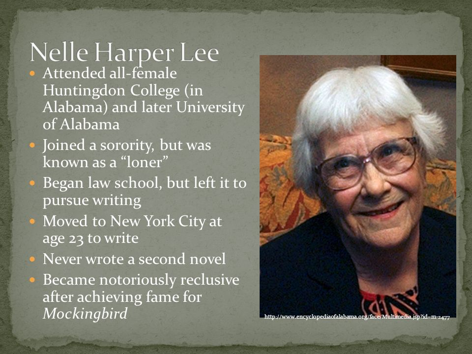 an introduction to the life of harper lee Introduction section one: harper lee's life section two: time period influences on lee's writing section three: influence of stereotypes section four: to kill a.