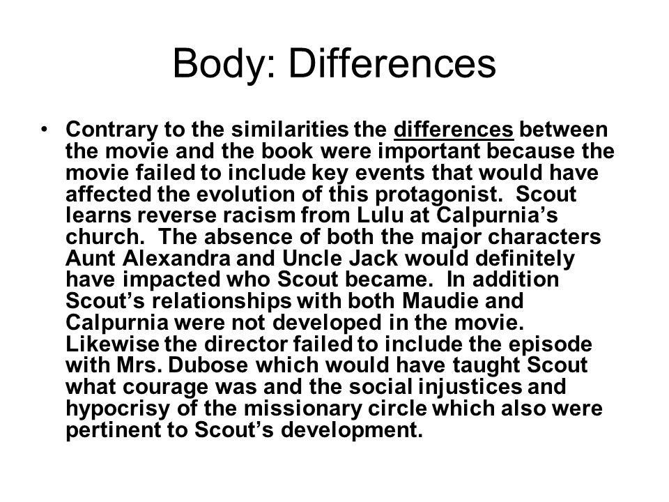 Thesis for my comparison essay between a film and a novel?