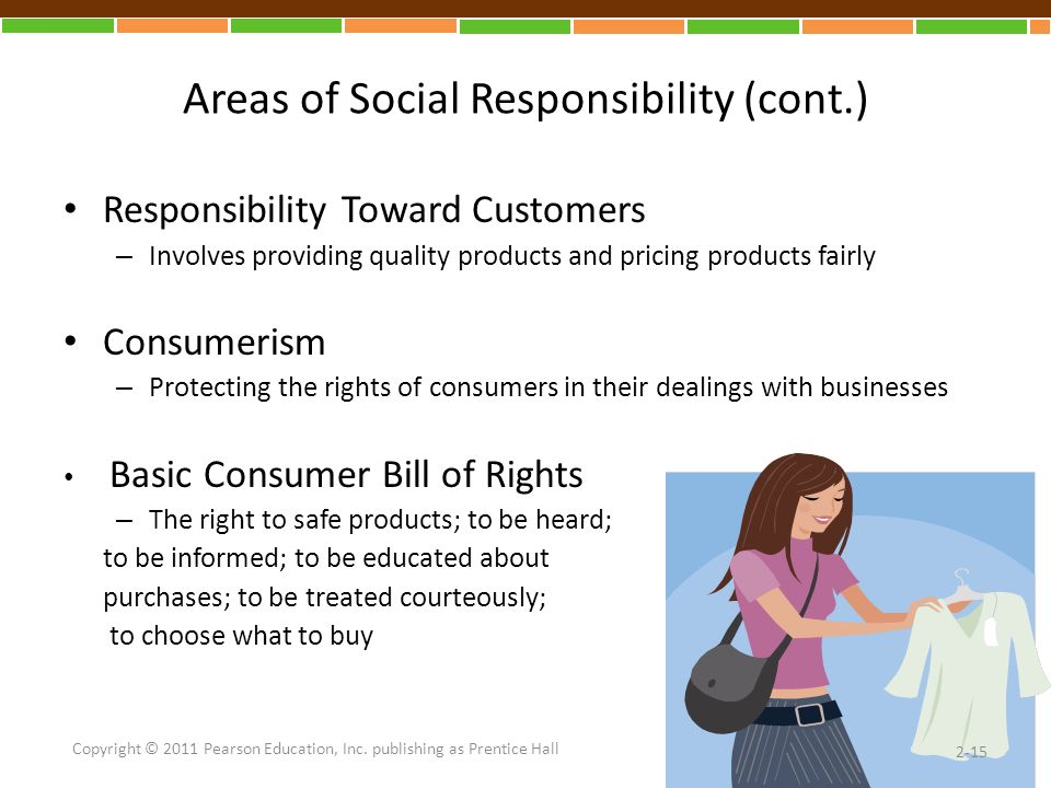 Areas of Social Responsibility (cont.) Responsibility Toward Customers – Involves providing quality products and pricing products fairly Consumerism – Protecting the rights of consumers in their dealings with businesses Basic Consumer Bill of Rights – The right to safe products; to be heard; to be informed; to be educated about purchases; to be treated courteously; to choose what to buy 2-15 Copyright © 2011 Pearson Education, Inc.