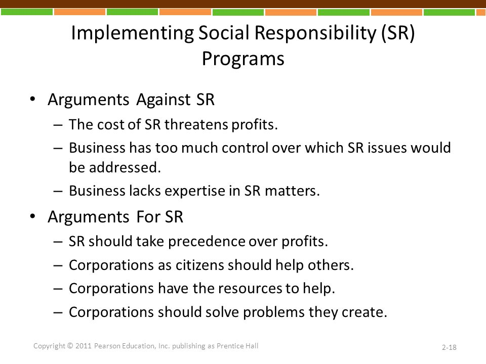 Implementing Social Responsibility (SR) Programs Arguments Against SR – The cost of SR threatens profits.