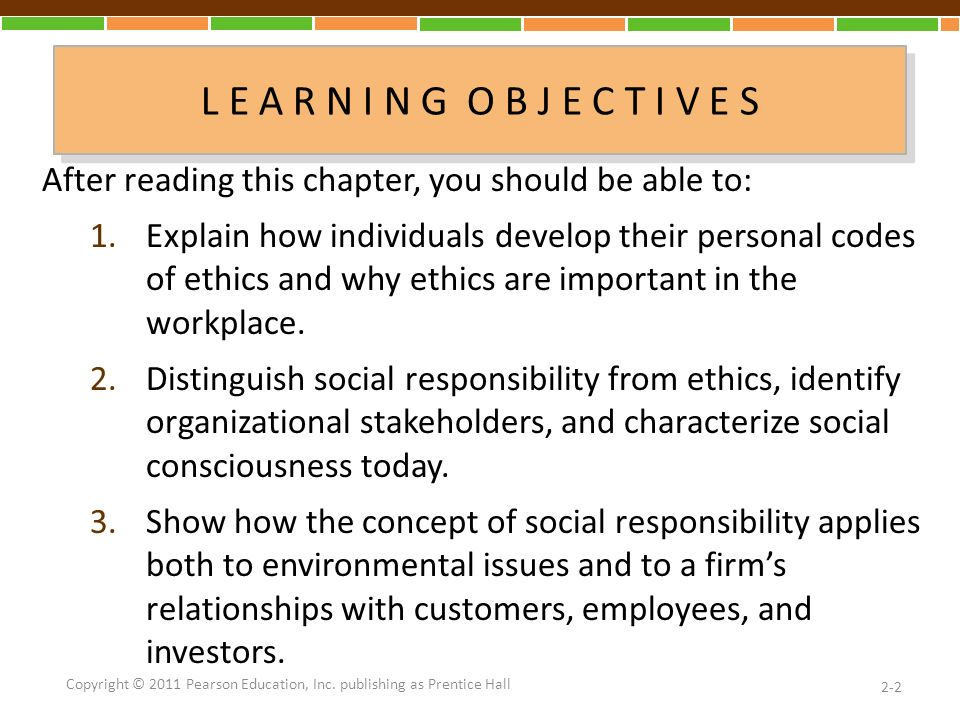 L E A R N I N G O B J E C T I V E S After reading this chapter, you should be able to: 1.Explain how individuals develop their personal codes of ethics and why ethics are important in the workplace.