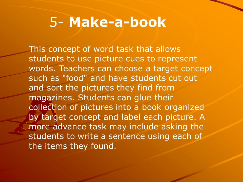This concept of word task that allows students to use picture cues to represent words.