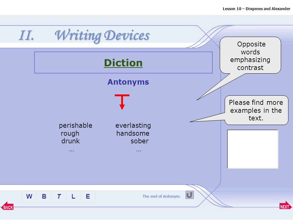 Btlew Lesson 10 Diogenes And Alexander Ii Writing Devices Diction More Examples Synonyms