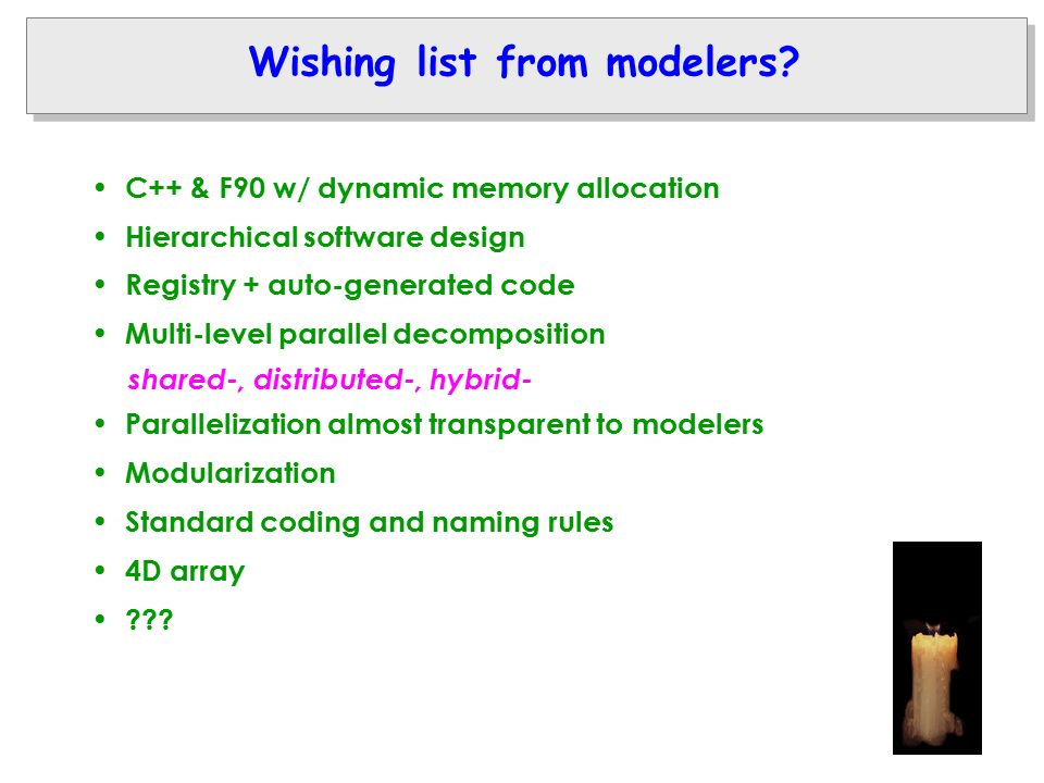 Wishing list from modelers.