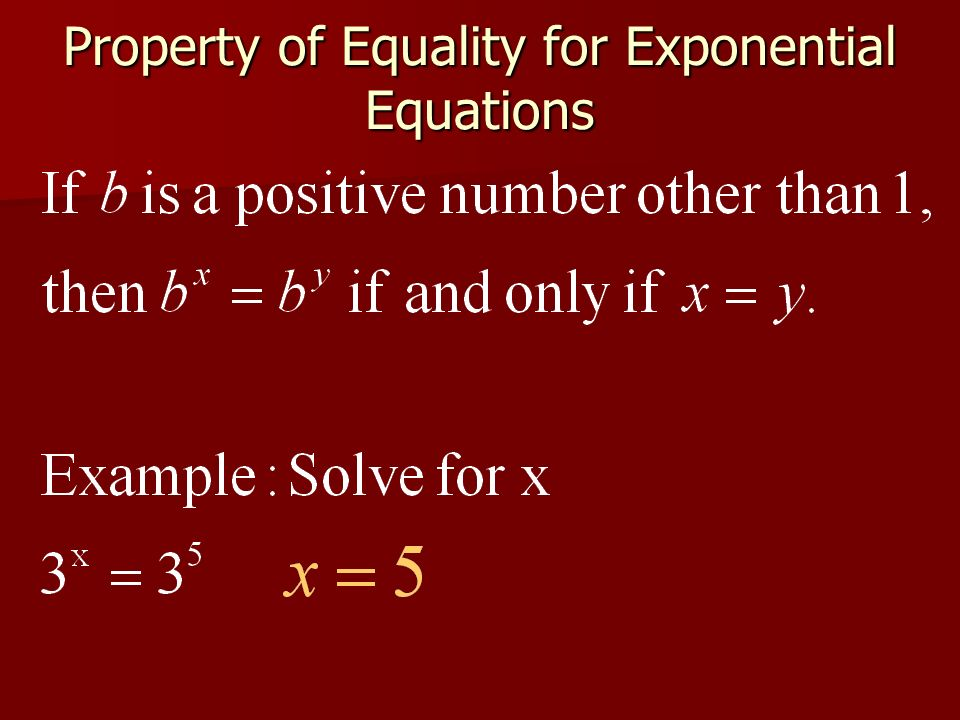 Property of Equality for Exponential Equations