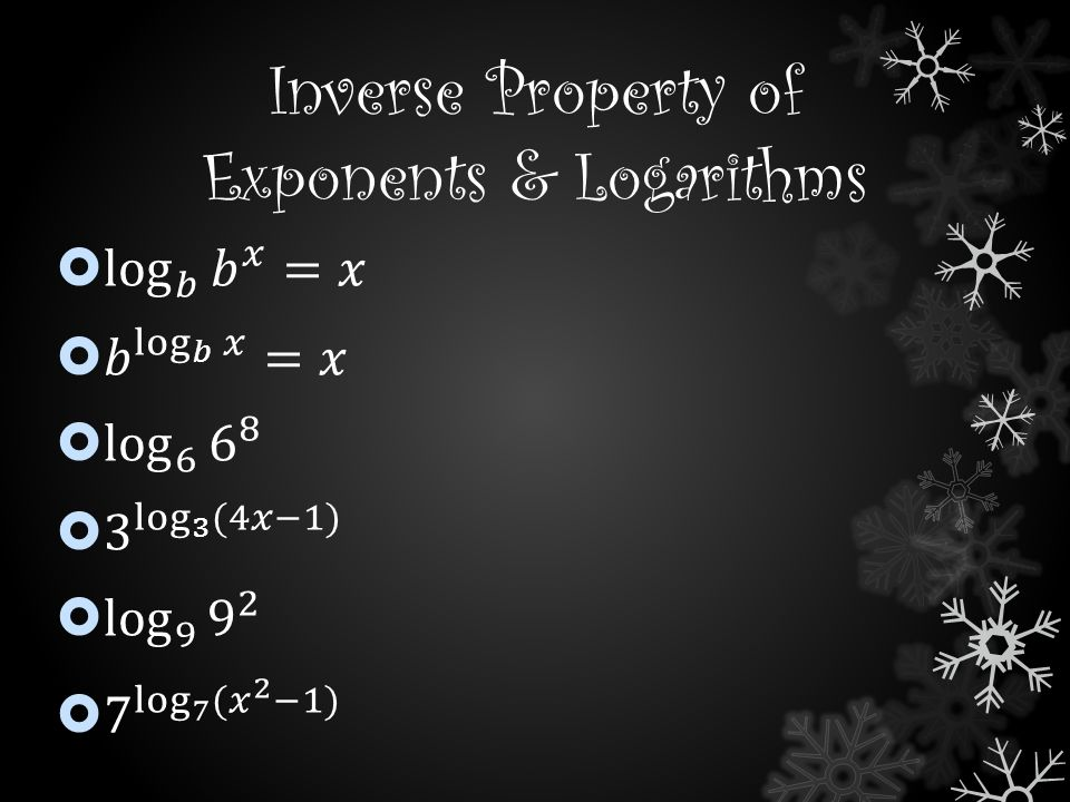 Inverse Property of Exponents & Logarithms