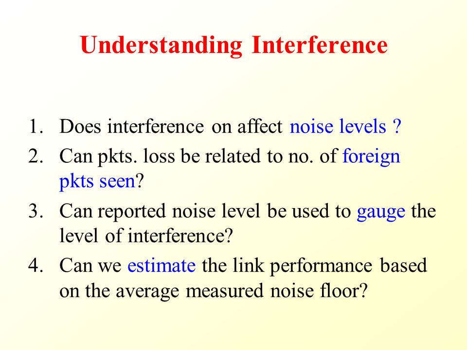 Understanding Interference 1.Does interference on affect noise levels .