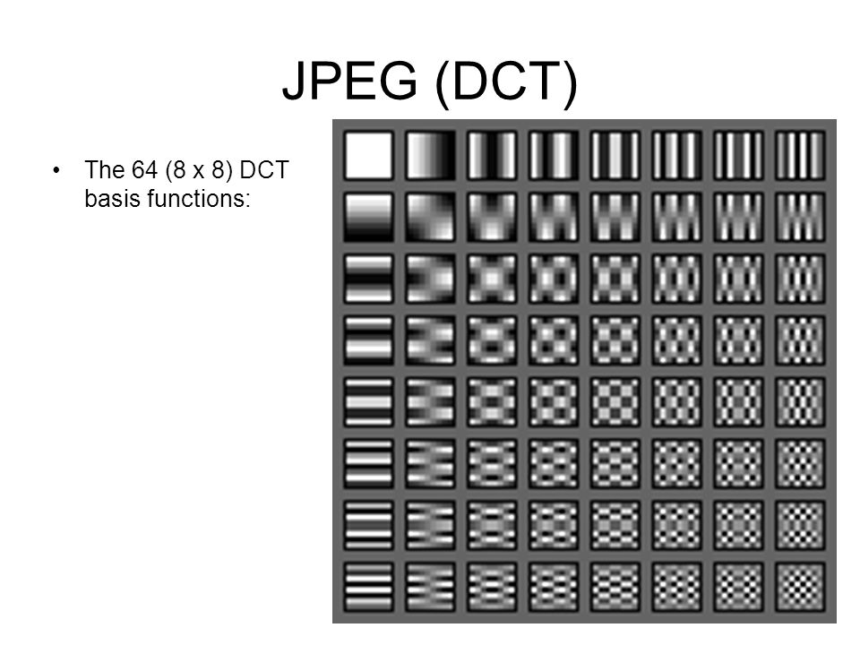 JPEG (DCT) The 64 (8 x 8) DCT basis functions:
