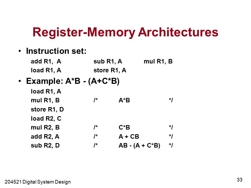 Digital System Design 33 Register-Memory Architectures Instruction set: add R1, A sub R1, A mul R1, B load R1, Astore R1, A Example: A*B - (A+C*B) load R1, A mul R1, B/*A*B*/ store R1, D load R2, C mul R2, B/*C*B*/ add R2, A/*A + CB*/ sub R2, D/*AB - (A + C*B)*/