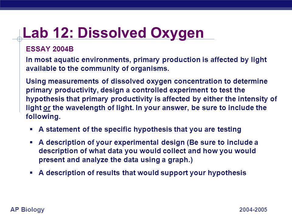ap biology essay 2004 b Ap® biology 2004 free-response questions form b the college board is a not-for-profit membership association whose mission is to connect students to.