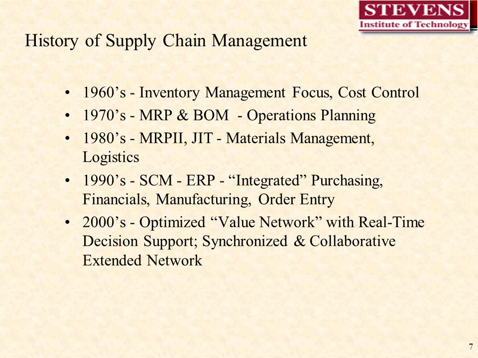 7 History of Supply Chain Management 1960's - Inventory Management Focus, Cost Control 1970's - MRP & BOM - Operations Planning 1980's - MRPII, JIT - Materials Management, Logistics 1990's - SCM - ERP - Integrated Purchasing, Financials, Manufacturing, Order Entry 2000's - Optimized Value Network with Real-Time Decision Support; Synchronized & Collaborative Extended Network