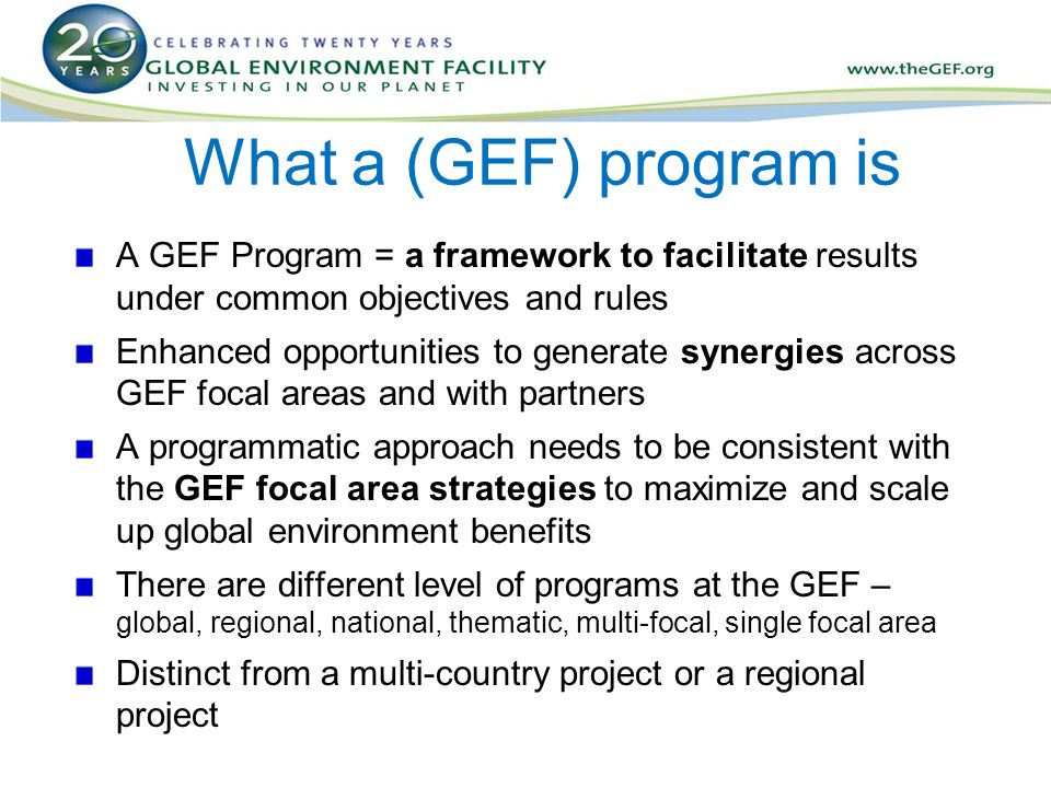 What a (GEF) program is A GEF Program = a framework to facilitate results under common objectives and rules Enhanced opportunities to generate synergies across GEF focal areas and with partners A programmatic approach needs to be consistent with the GEF focal area strategies to maximize and scale up global environment benefits There are different level of programs at the GEF – global, regional, national, thematic, multi-focal, single focal area Distinct from a multi-country project or a regional project