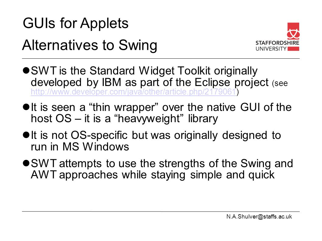Guis for applets introduction applets and swingjfc alternatives to 4 guis baditri Choice Image