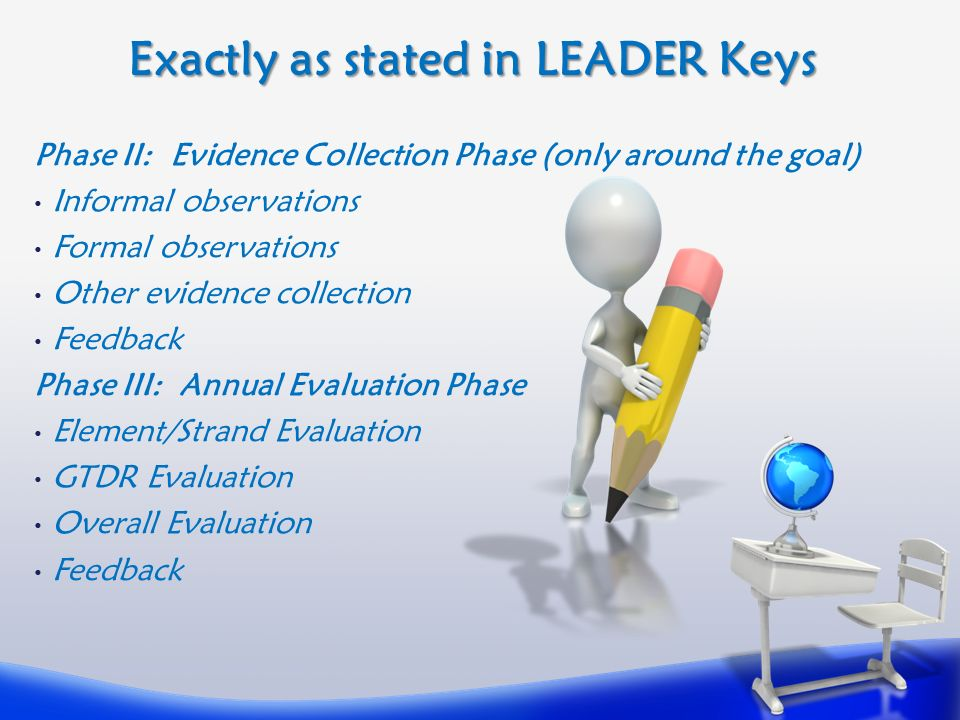 Exactly as stated in LEADER Keys Phase II: Evidence Collection Phase (only around the goal) Informal observations Formal observations Other evidence collection Feedback Phase III: Annual Evaluation Phase Element/Strand Evaluation GTDR Evaluation Overall Evaluation Feedback