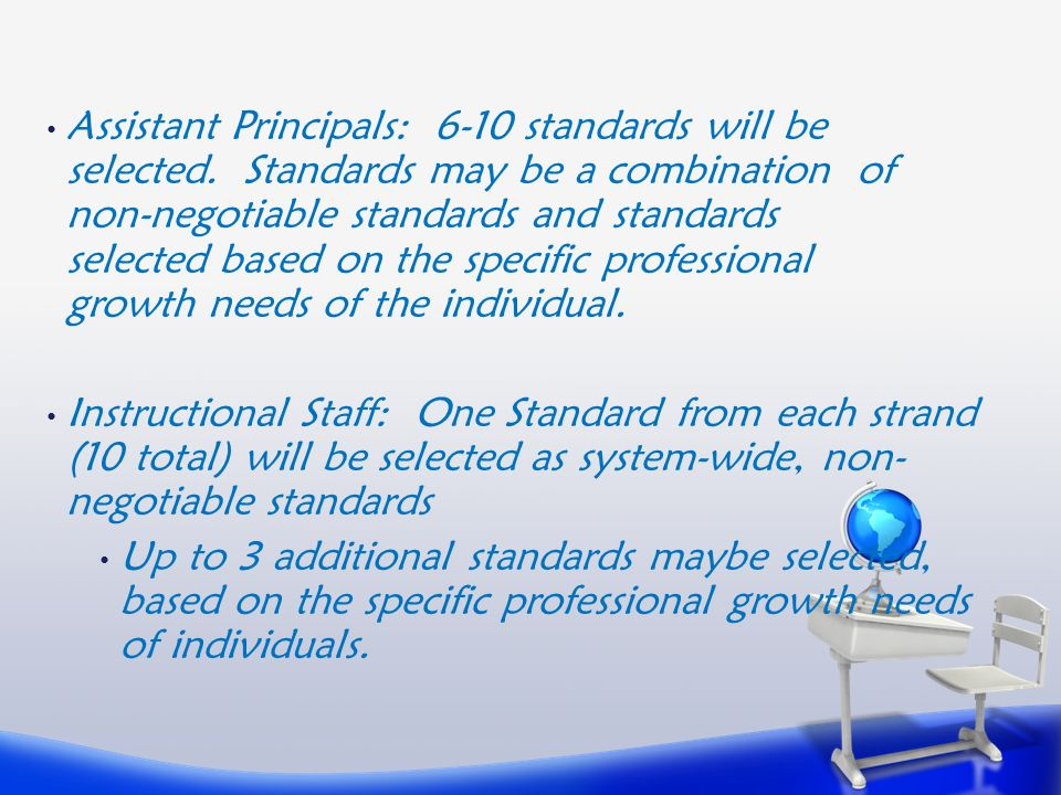 Assistant Principals: 6-10 standards will be selected.