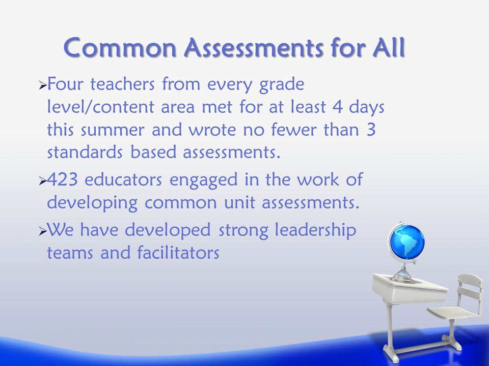 Common Assessments for All  Four teachers from every grade level/content area met for at least 4 days this summer and wrote no fewer than 3 standards based assessments.