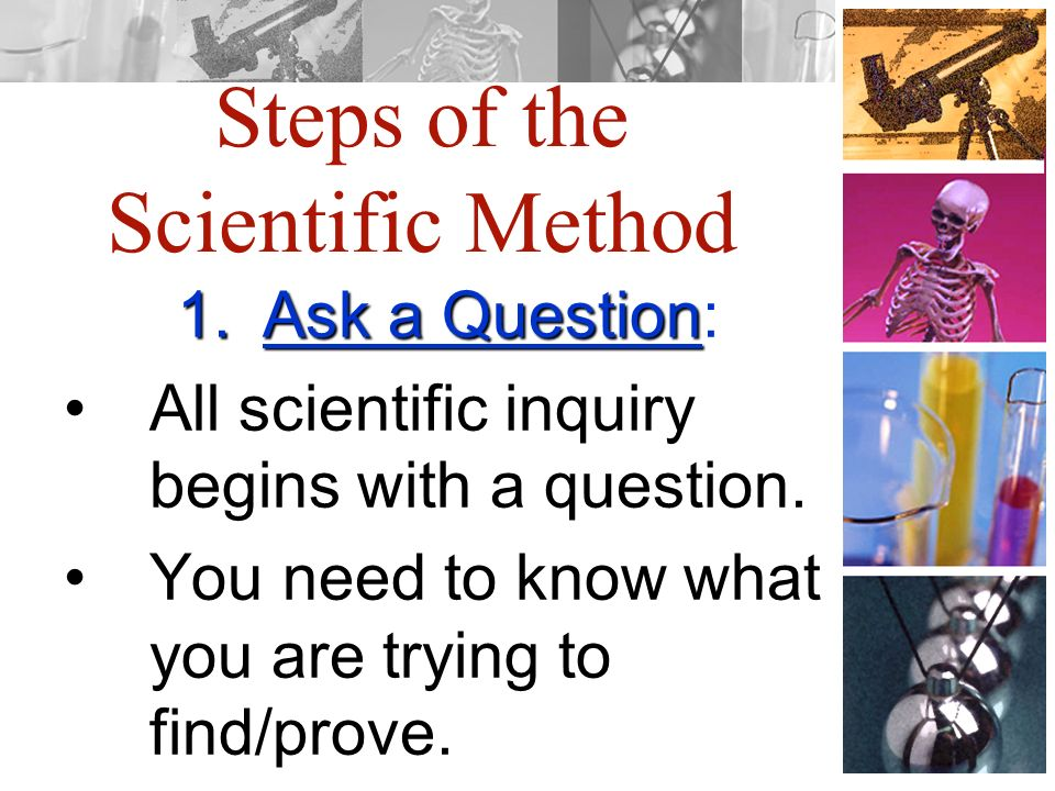 Steps of the Scientific Method 1.Ask a Question 1.Ask a Question: All scientific inquiry begins with a question.