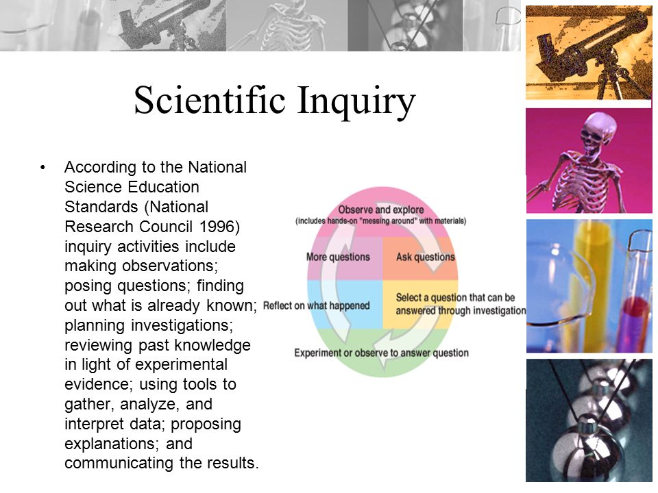 Scientific Inquiry According to the National Science Education Standards (National Research Council 1996) inquiry activities include making observations; posing questions; finding out what is already known; planning investigations; reviewing past knowledge in light of experimental evidence; using tools to gather, analyze, and interpret data; proposing explanations; and communicating the results.