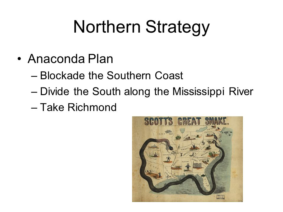Northern Strategy Anaconda Plan –Blockade the Southern Coast –Divide the South along the Mississippi River –Take Richmond