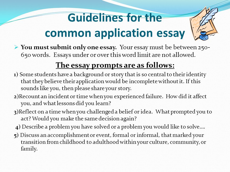 how long is the common app short essay
