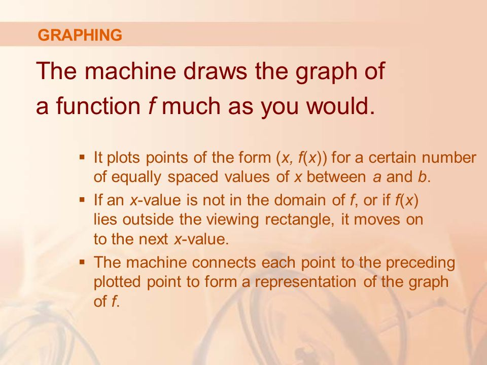 The machine draws the graph of a function f much as you would.