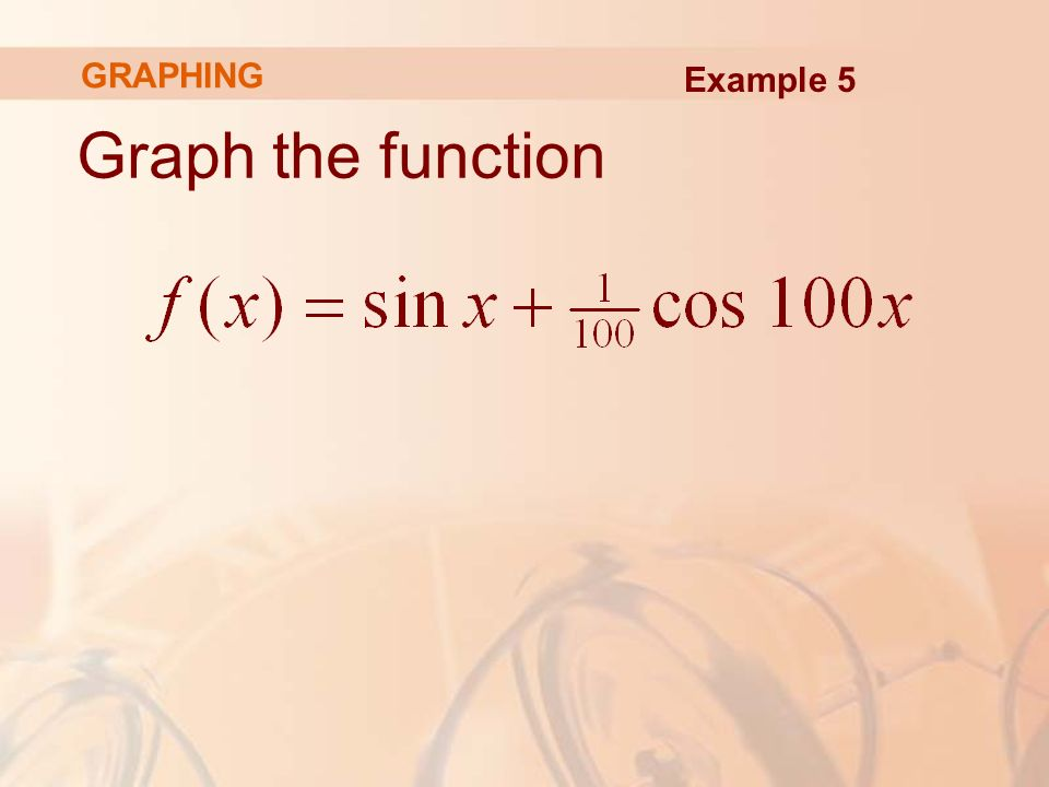 Graph the function Example 5 GRAPHING