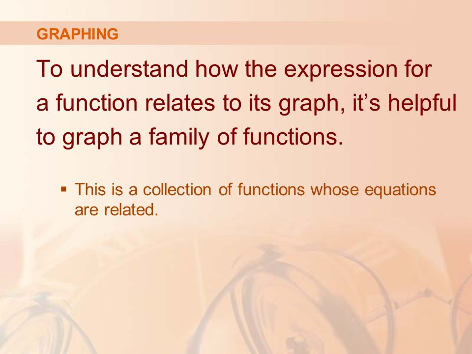 To understand how the expression for a function relates to its graph, it's helpful to graph a family of functions.