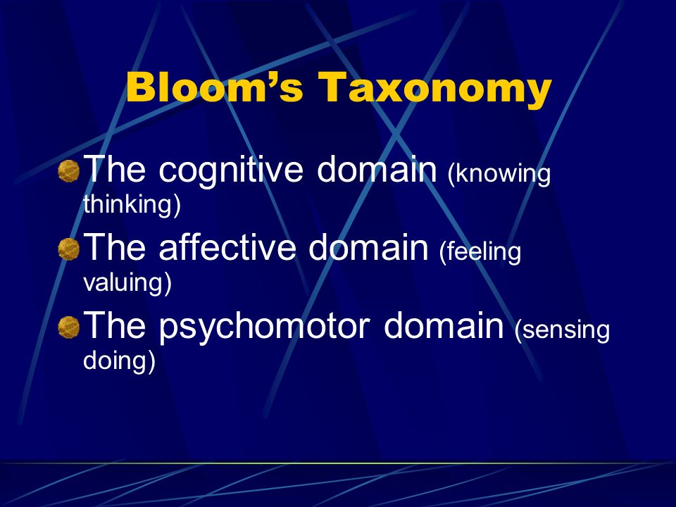 Bloom's Taxonomy The cognitive domain (knowing thinking) The affective domain (feeling valuing) The psychomotor domain (sensing doing)