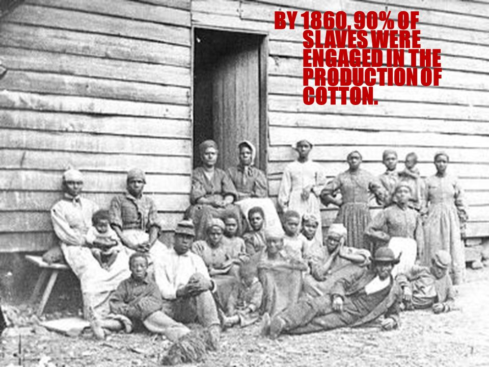 BY 1860, 90% OF SLAVES WERE ENGAGED IN THE PRODUCTION OF COTTON.