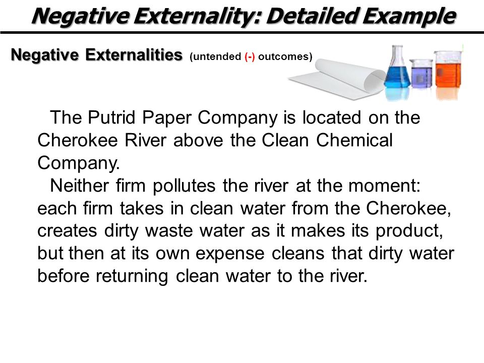 Negative Externality: Detailed Example Negative Externalities Negative Externalities (untended (-) outcomes) The Putrid Paper Company is located on the Cherokee River above the Clean Chemical Company.