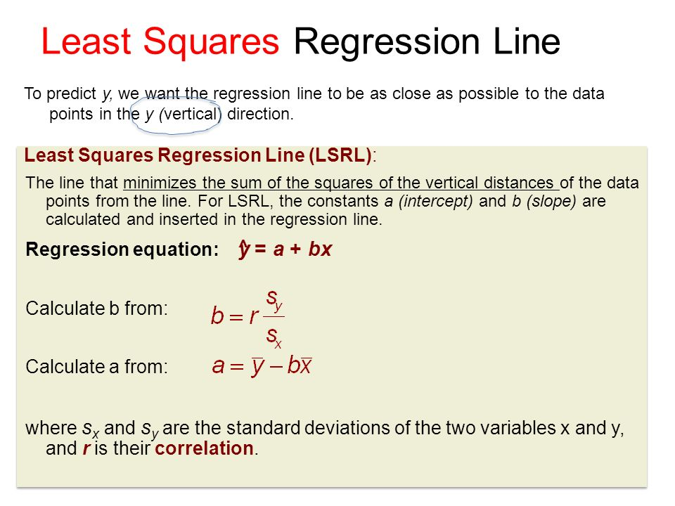 11 Least Squares Regression Line To predict y, we want the regression line to be as close as possible to the data points in the y (vertical) direction.