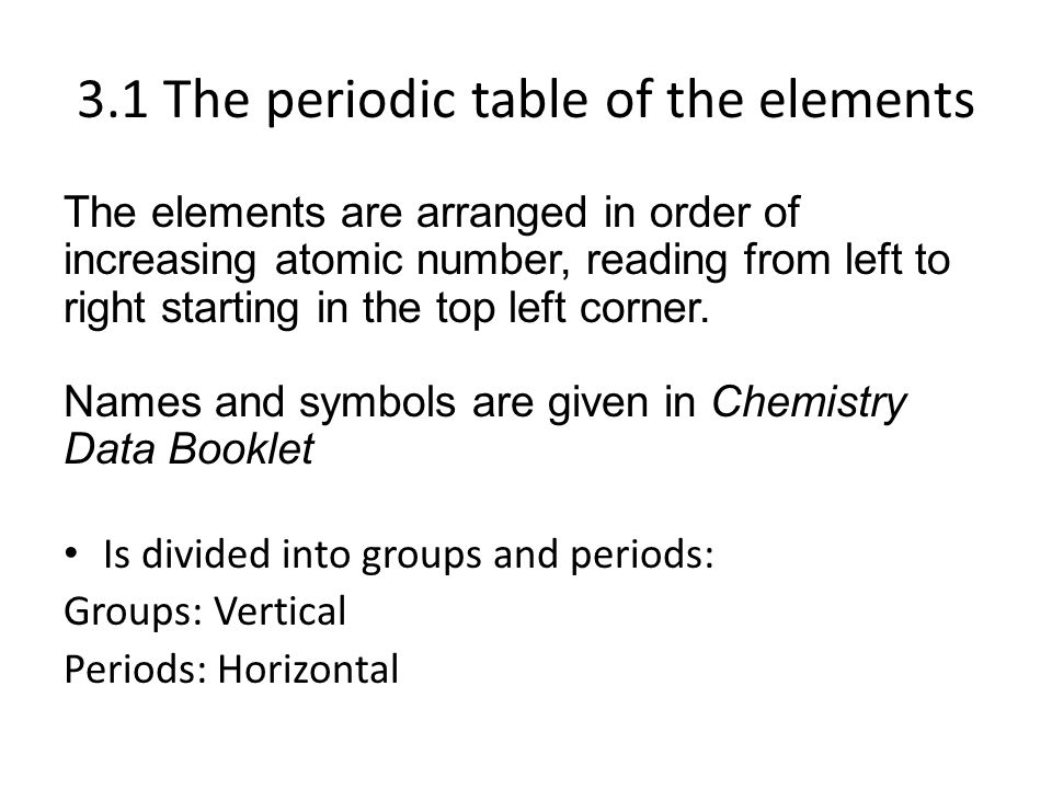 Topic 3 periodicity sl hl 31 the periodic table of the elements 31 the periodic table of the elements the elements are arranged in order of increasing atomic urtaz Gallery