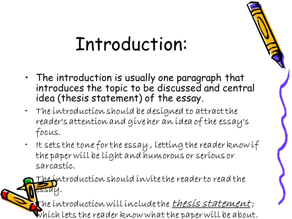 an introduction to the essay on the topic of area 51 Introduction to essay, types and forms including the elements of an essay 3 three main parts • introduction it is the opening part of the writeup that shows the topic sentence of the essay or the thesis statement.