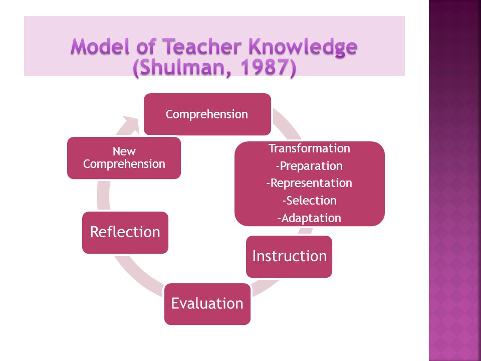 Comprehension Transformation -Preparation -Representation -Selection -Adaptation InstructionEvaluationReflection New Comprehension