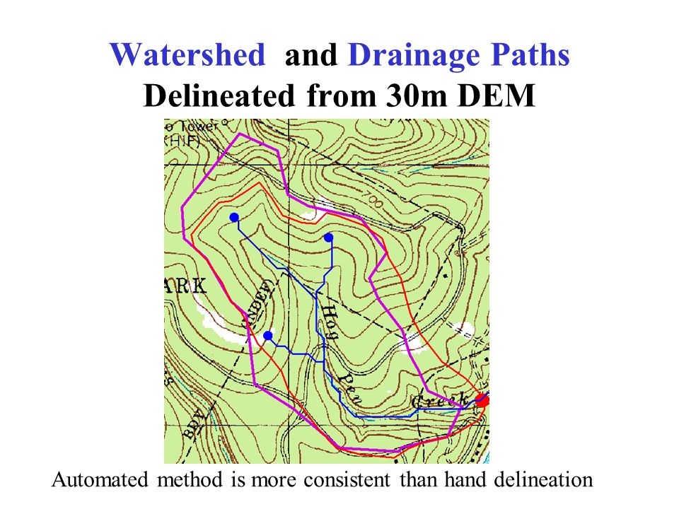 Watershed and Drainage Paths Delineated from 30m DEM Automated method is more consistent than hand delineation