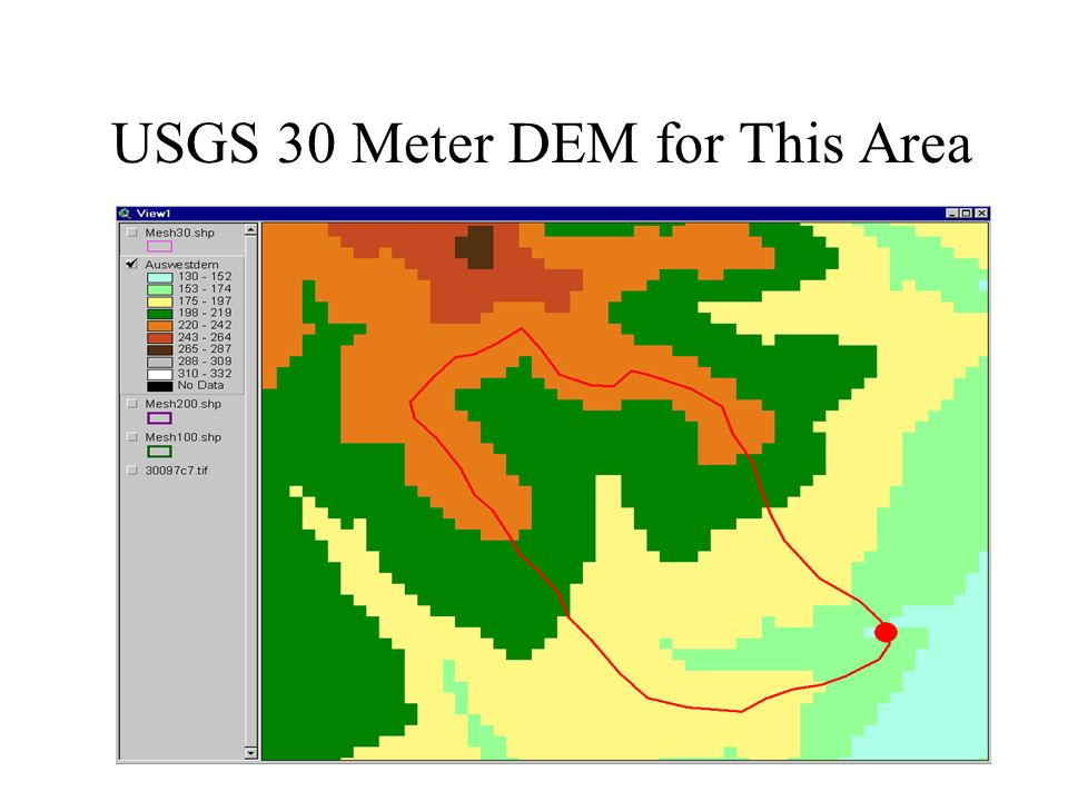 USGS 30 Meter DEM for This Area