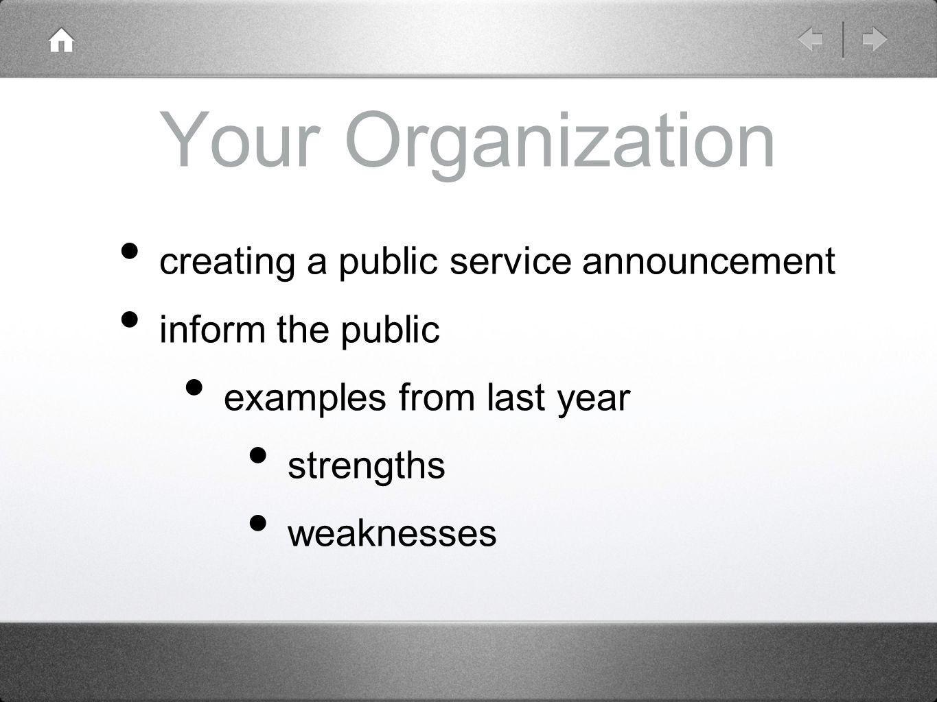 part internationalism and contemporary global affairs ppt 16 your organization creating a public service announcement inform the public examples from last year strengths weaknesses