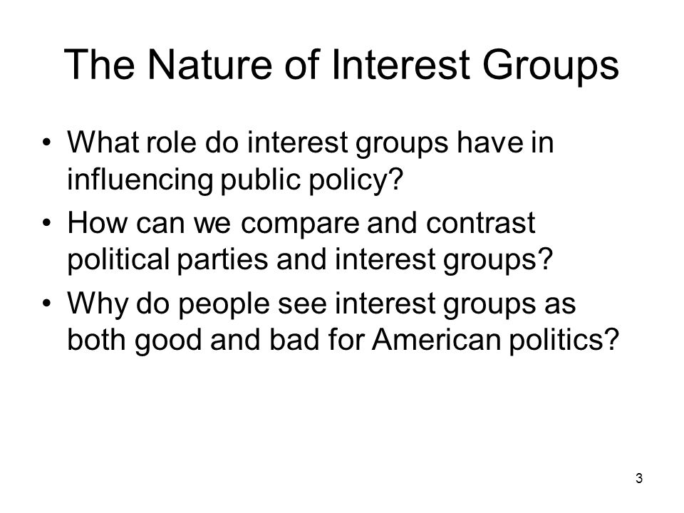 The Nature of Interest Groups What role do interest groups have in – Worksheet Comparing American Political Parties