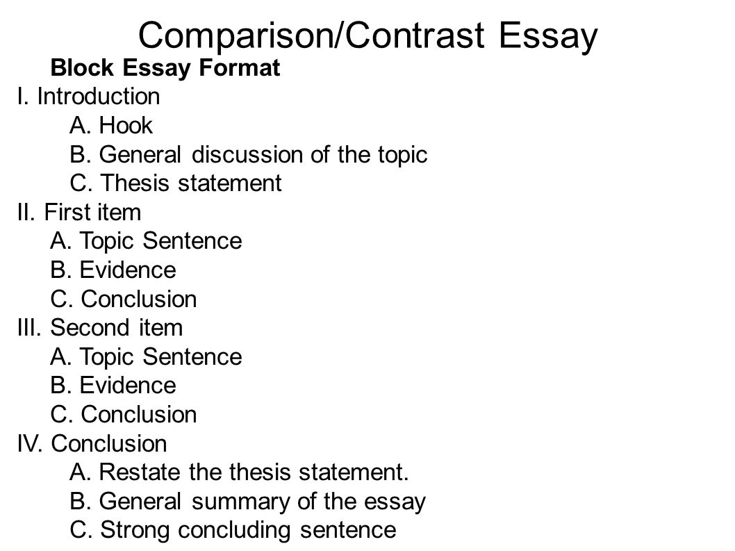 compare and contrast essay format compare and contrast essay ...