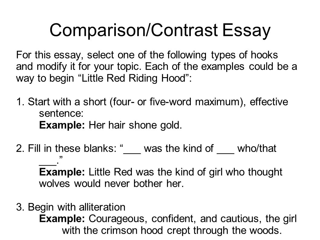 first sentence of a compare and contrast essay