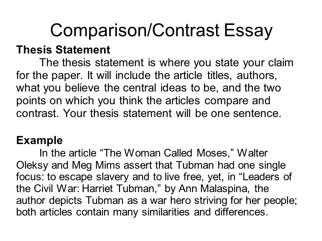 Compare And Contrast Essay Layout
