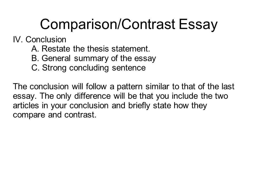 Conclusion for a compare and contrast essay conclusion paragraph