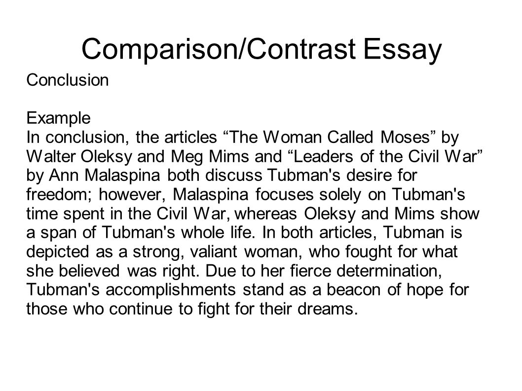 How do you write an opening and a closing paragraph in a compare/contrast essay?
