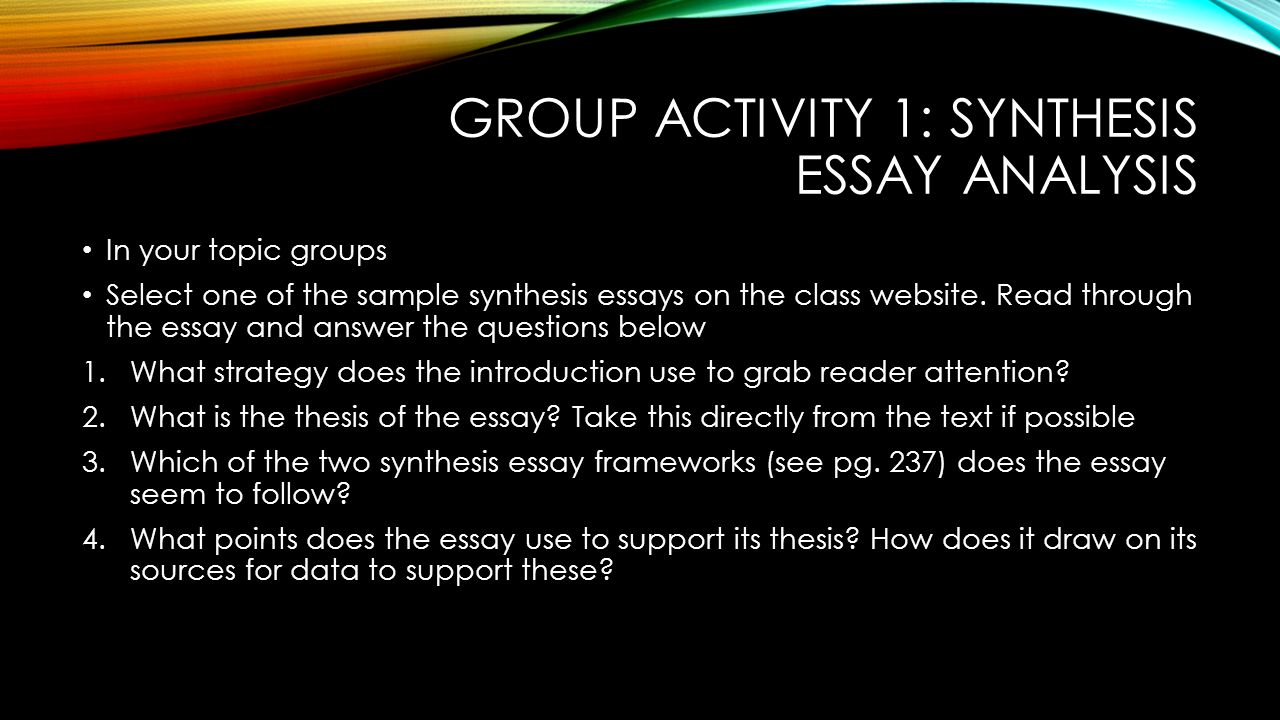 essay of synthesis Learn how to write a synthesis essay based on the information from the offered sources to pass your english ap exam or other tests perfectly.